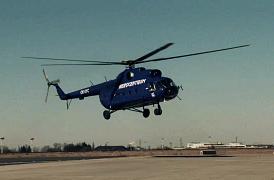 Vrtulník Mi-8 při stavbě větrné elektrárny Baltic 1
