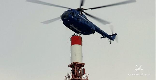 Úprava vysílače ČRo Nový Kramolín vrtulníkem